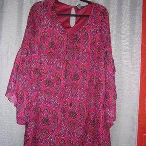 RUE 21 DRESS PAISLEY PRINT BURGUNDY/BLACK